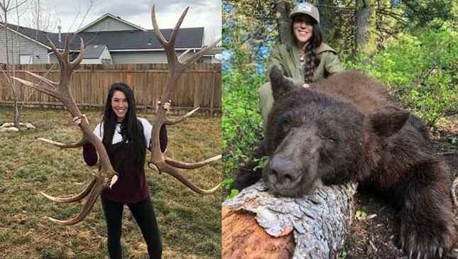 caçadora posta fotos de animais mortos