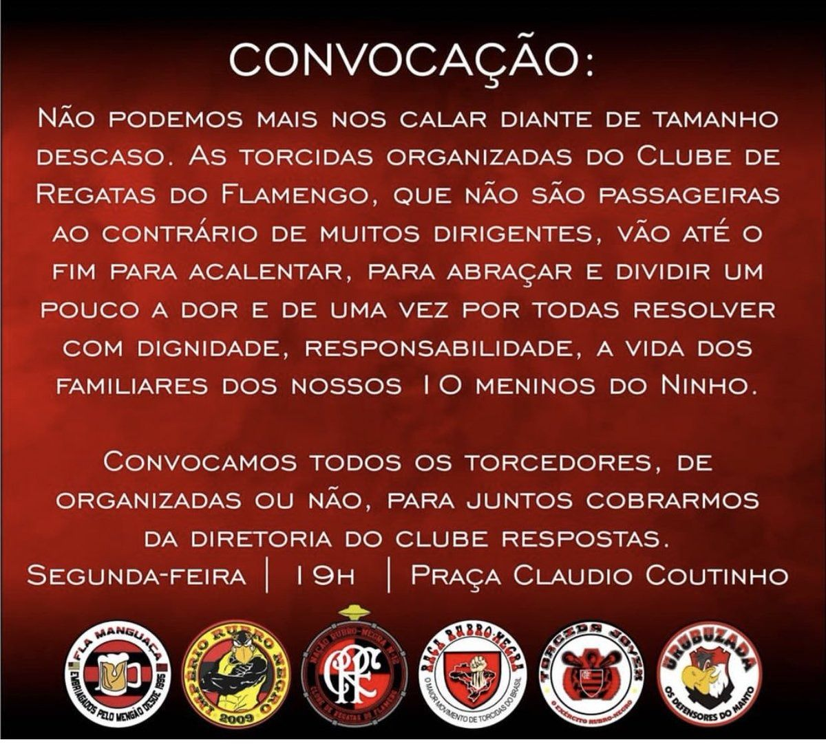 torcidas do Flamengo convocam protesto