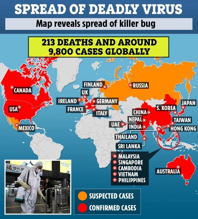 Coronavírus se espalha do dezenas de países