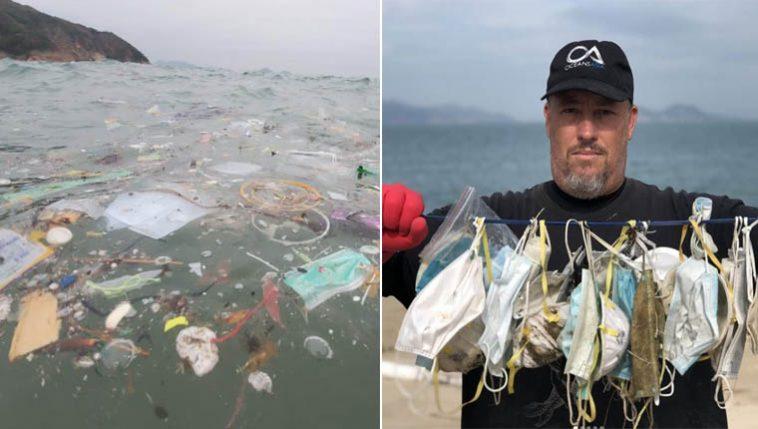 Máscaras e luvas descartadas estão poluindo os oceanos