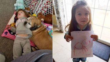 Menina escreve cartinha para cãozinho no céu