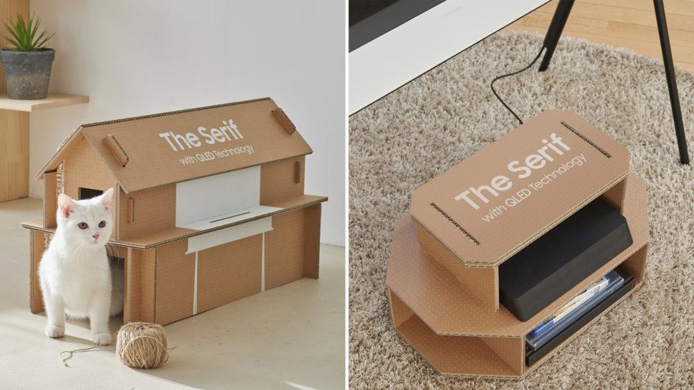 caixas de tv samsung casas para gato