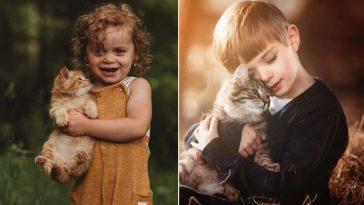 Fotógrafa registra crianças com gatinhos