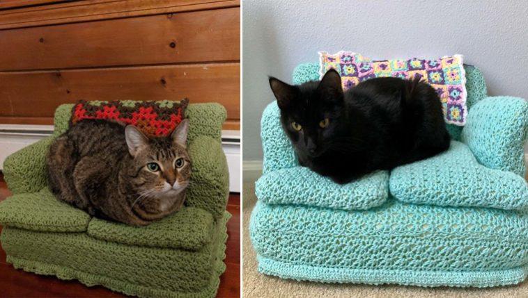 sofás de crochê para gatos