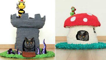 Casinhas de gato de crochê
