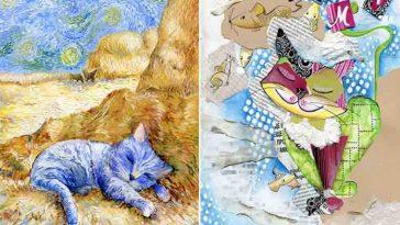 Artista reproduz gatinhos