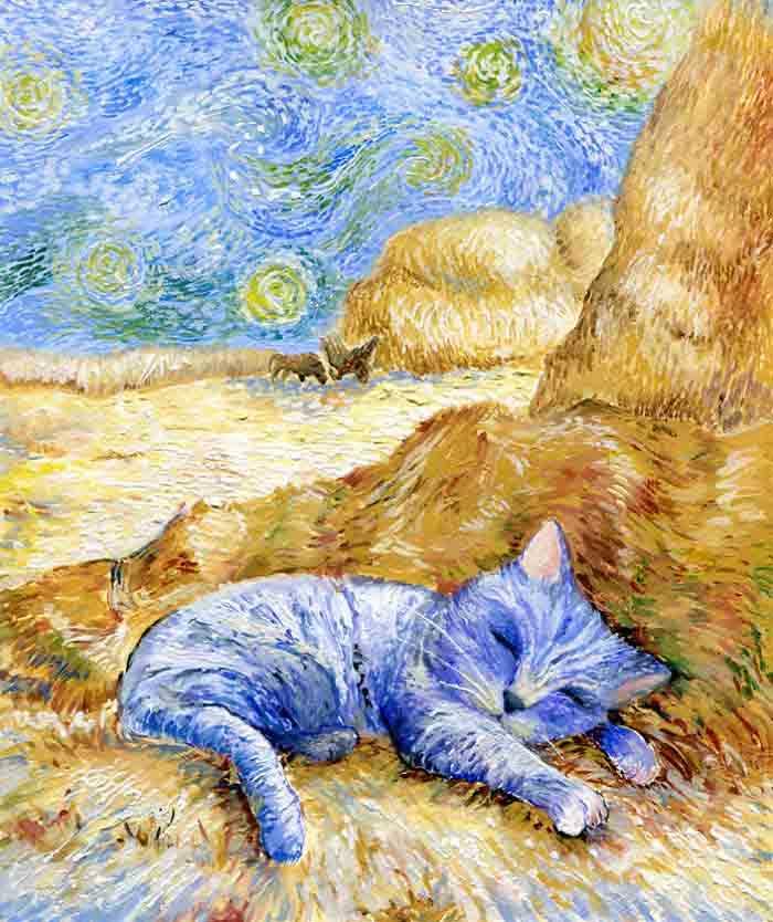 Artista reproduz gatinhos Van Gogh