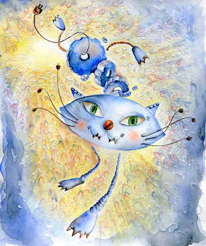 Artista reproduz gatinhos obras