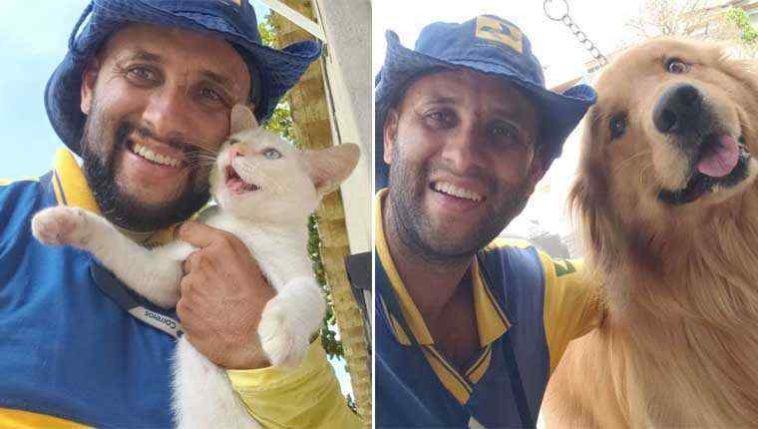 Carteiro tira selfies com gatinhos