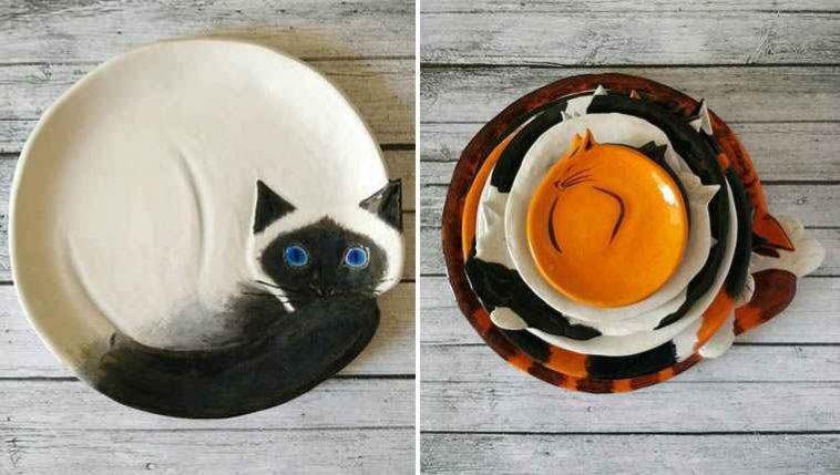 Pratos de cerâmica em formato de gatinhos