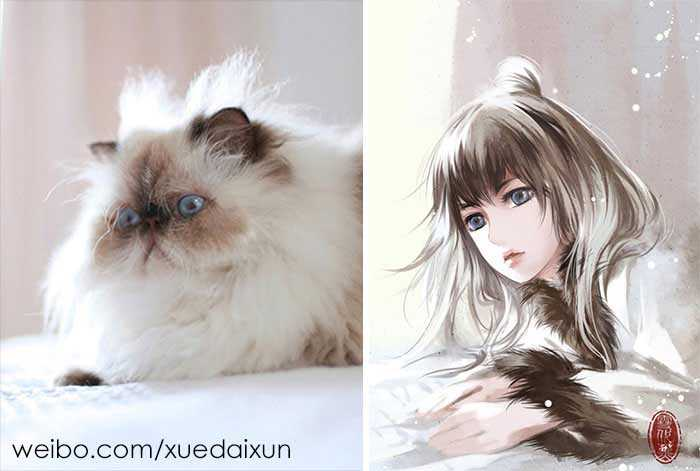Versões humanas de gatinhos fofos