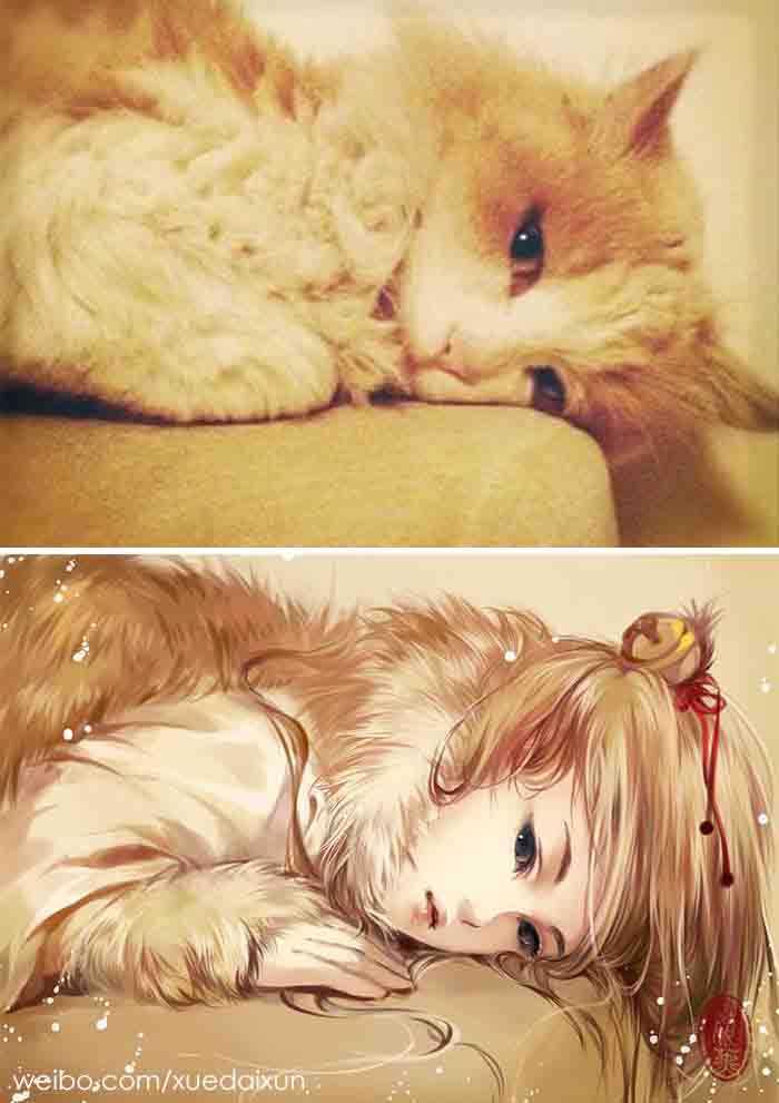 Versões humanas de gatinhos fotos