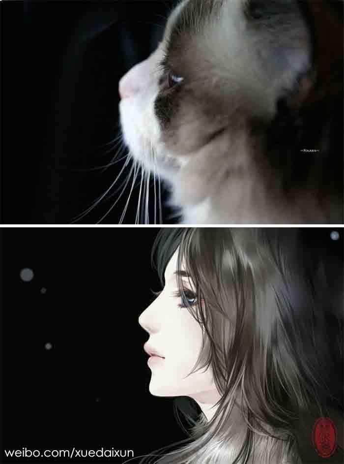 Versões humanas de gatinhos gatinhas