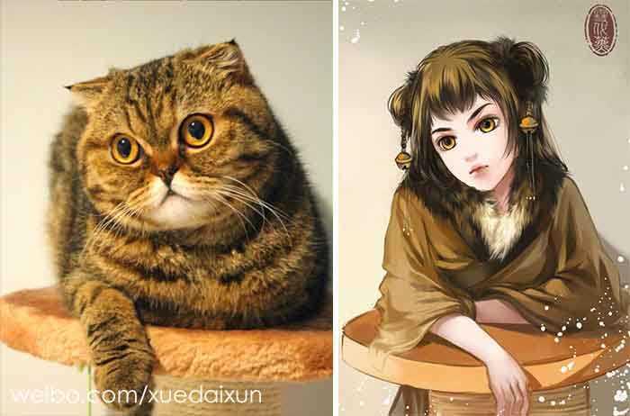 Versões humanas de gatinhos lindos
