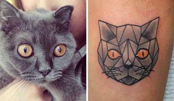 tatuagens minimalistas de gatinhos exemplo
