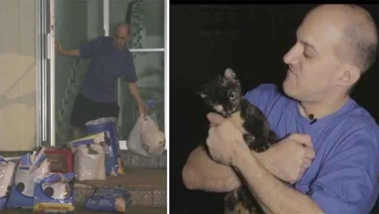 Homem que alimenta gatinhos
