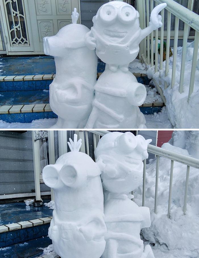 esculturas de neve minion