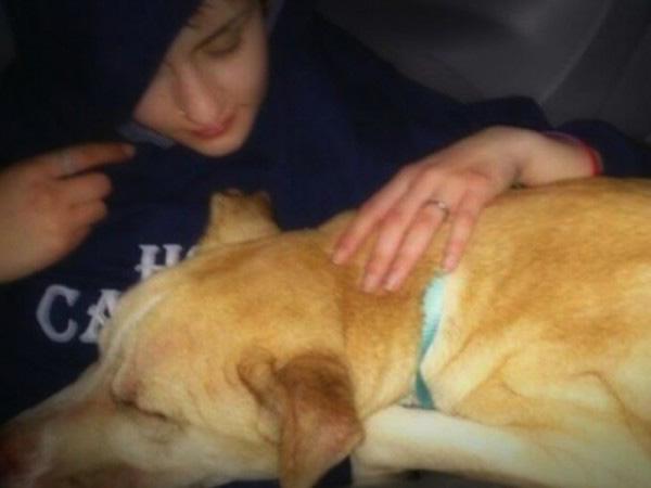 mulher resgata cão